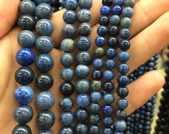 Natural Blue Dumortierite Gemstone Beads, Round Loose Gemstone Beads, Semi Precious Stone Beads For Jewelry Making 6mm 8mm 10mm 12mm 14mm