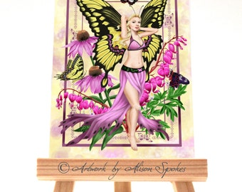 Butterfly Fairy ACEO Art Card ATC - The Beauty - Spring Fairy