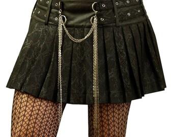 Gothic Mini Folding Skirt snakeskin