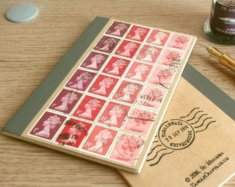 Valentine Red A6 Notebook | British Travel Journal, lined writing journal | upcycled GB Machin postage stamps, gift for penpal writer office
