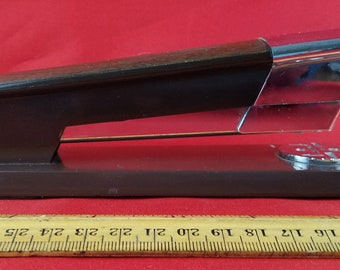 Vintage 1960s Swingline Brown and Chrome Stapler--Space-Age Design