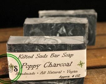 Charcoal Soap, Poppy Soap, Face Soap, Natural Soap, Exfoliating Soap, Handcrafted Soap, Vegan Soap, Vegan Face Soap, Charcoal Bar Soap, Soap