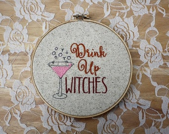 Fall Embroidery Designs - Drink Up Witches - Funny Embroidery Designs - 4x4 Embroidery Designs - Humorous Embroidery Designs - Sarcastic