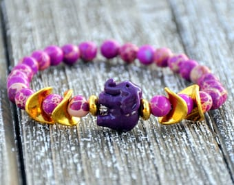 Purple Elephant Gypsy Beaded Bracelet