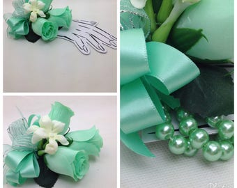New Artificial Mint Corsage, Mint Prom Corsage, Mint Wrist Corsage, Mint Pin on Corsage, Mint Mothers Corsage
