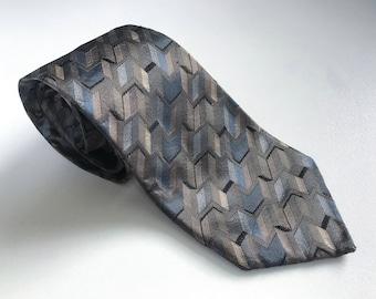 Vintage silk necktie, geometric pattern silk neck tie, gift for him, mens fashion, vintage for men, mens vintage fashion