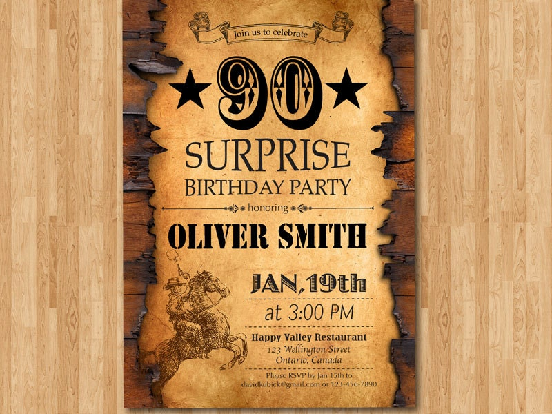 90th Birthday Invitation. Western Theme Birthday for Men.