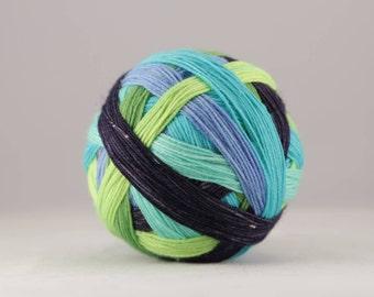 Hand dyed self-striping sock yarn 100g cupboard of curiosities colourway