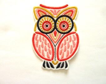 Machine embroidery, OWL multicolor mola