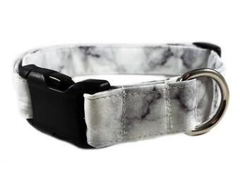 White Marble Dog Collar - Girl Dog Collar Strong - Cute Cat Collar - Boy Dog Collar Thick - Preppy Dog Collar - Fancy Dog Collar