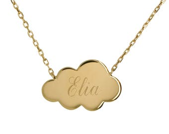 Personalized cloud necklace plated gold