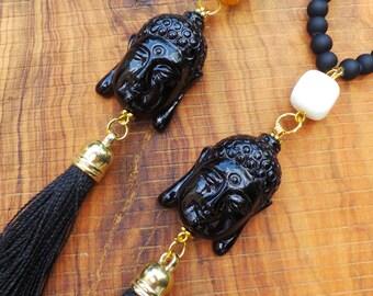 Long beaded buddha tassel necklace. Buddha necklace with tassel. Black buddha tassel necklace. Buddha necklace. Lucky Buddha necklace.