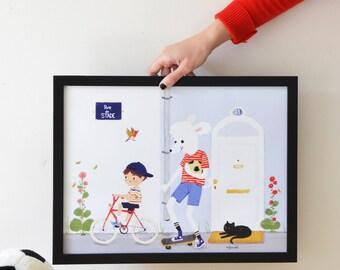 """Illustration """"Les Amis"""" Caniche royal blanc et petit garçon à bicyclette- Décoration chambre d'enfant- Affiche 30x40 cm ."""