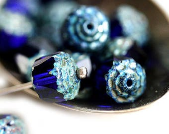 Dark Blue cathedral beads 8mm czech glass picasso beads Dark blue round fire polished beads - 15Pc - 1970