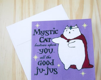 "CARD: ""Mystic Cat"" featuring a mystical cat wishing you good vibes"