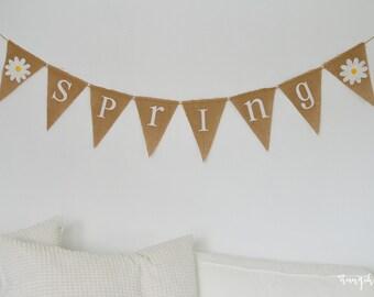 Spring Flower Banner - Rustic Spring Banner - Spring Burlap Banner - Burlap Banner