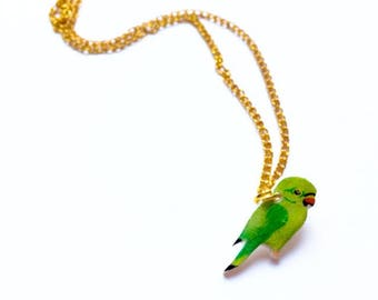 Hand drawn Parakeet Parrot Necklace. Bird Necklace. Parrot Jewellery