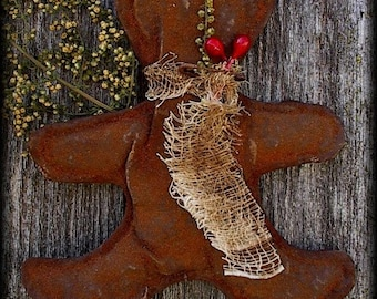 Primitive Christmas Gingerbread Man Doll Ornies Bowl Fillers Tucks Pattern