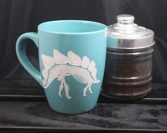 Stegosaurus - Skeleton - Dinosaur Mug - Fossil Mug - Tea and Coffee Mug - Etched - Gift Ideas - Gifts for Him - Gifts for Her