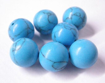 10pc 12mm manmade turquoise round beads-5342