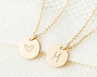 Mother's Necklace, Personalized Initials Necklace, Letter Charms, Gold Disk Necklace, Gift for Mother