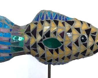 Small Yellow/Purple Fish Mosaic Garden Stake