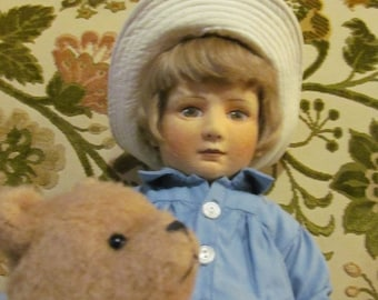CHRISTOPHER ROBBINS and Winnie the Pooh 80s Vintage R John Wright Dolls Hand Made Felted Dolls  Limited Edition Doll Hand made Teddy Bear