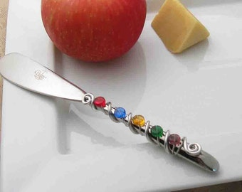 Hand wire wrapped and beaded spreader knife - bold and bright