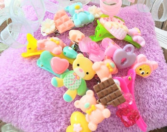 Kawaii Hair Clips - Little Girl Hair Clip Grab Bag - Cute - Gift for Girl - Stocking Stuffers - Fairy Kei - Resin Hair Clips - Pastel