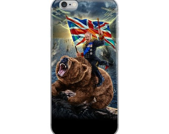 Victorious Winston Churchill Ride Bear on D-Day Normandy - iPhone Case