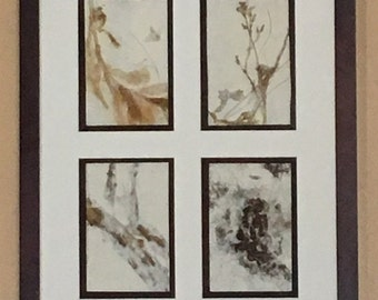 Natural Art, Creative Fiber Arts, Contemporary fiber arts, Recycled Paper Art, Homemade paper, Framed Nature Art, Plant Fiber Wall Art