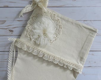 "Large 26"" Farmhouse Christmas Stocking, Natural Canvas with Vintage Lace, Crochet Lace Linen Doily and Buttons, USA FREE ship, Ready to ship"