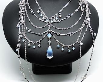 Vintage Designer MYKA NECKLACE Waterfall Bib Swarovski Crystals Multi Strand NECKLACE