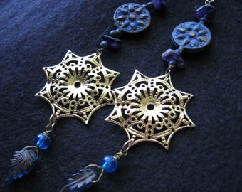 Long dangle earrings   blue and gold   compass rose   sun   boho chic