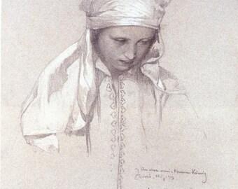 Fabulous Alphonse Mucha Drawing Print