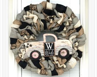 Wreath, Monogram Wreath, Natural and Scroll with Black Chevron Wreaths, custom lastname wreath, truck wreath, Welcome Wreath, Family sign
