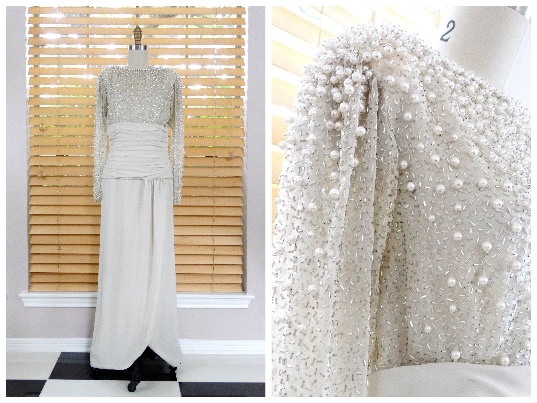 Vintage Pearl Perlen Brautkleid / Elfenbein Seide Glas Perlen