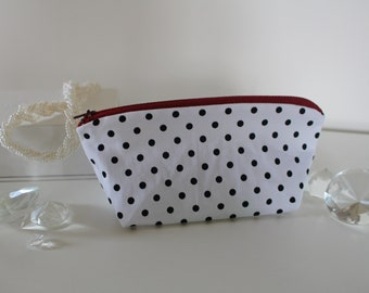 Handmade Polka Dot Makeup Bag Pencil Case Pouch with Zipper