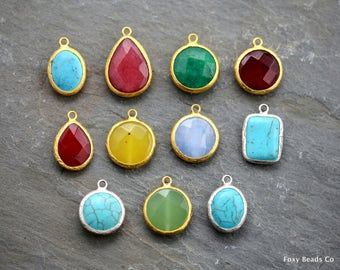 Gemstone Charm, Jade Necklace, Gemstone Pendant, Gemstone Pendant, Gemstone Necklace, Gift for Her, Gemstone Jewelry, Mix Lot Pendant