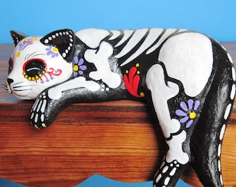 Day of the Dead CAT Shelf Sitter Skeleton Kitty Statue Pet Memorial - CUSTOM by Illustrated Ink - CHOOSE Your Own Colors
