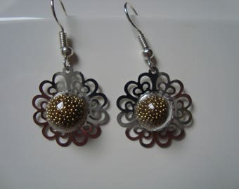 Print and sandblasted glass dome earrings