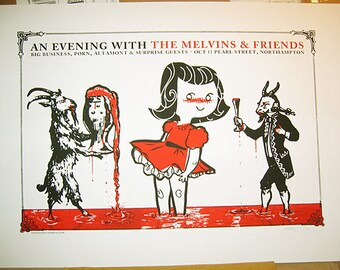 Melvins - gigposter (screenprinted blood flood evil metal rock poster!)