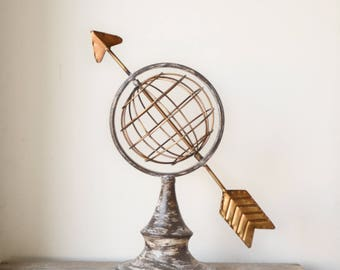 Large Metal Linear Globe Statue with Arrow