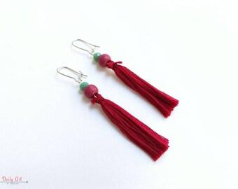 Dark red tassel earrings, boho chic, bohemian style earrings, artisan jewelry