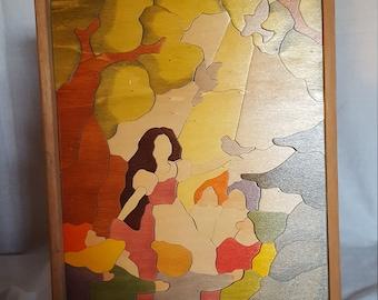 Vintage, Snow White and Dwarfs wood, puzzle picture