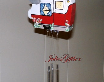 Small Camper Wind Chime-Red,Silver Wing-Solid Aluminum Chimes-Hand Crafted-OOAK-WCHC-TT0012