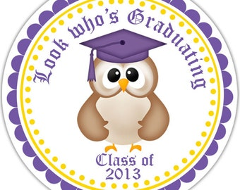 Graduation Owl Personalized Stickers - Address Labels, Personalized Stickers, Party Favor Tags, Thank You Tags, Gift Tags