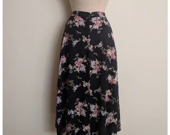 Vintage 90s dark high waisted floral maxi skirt