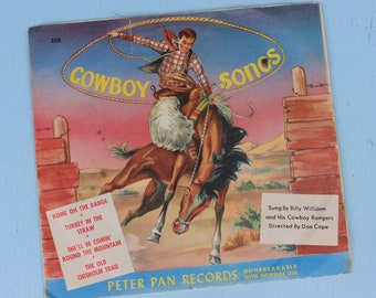 Vintage 1953 Cowboy Songs record, Home on The Range, Peter Pan Records