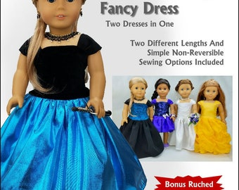 Pixie Faire Read Creations Reversible Fancy Dress 18 Inch Doll Clothes Pattern for 18 inch Dolls Such As American Girl Dolls - PDF Download